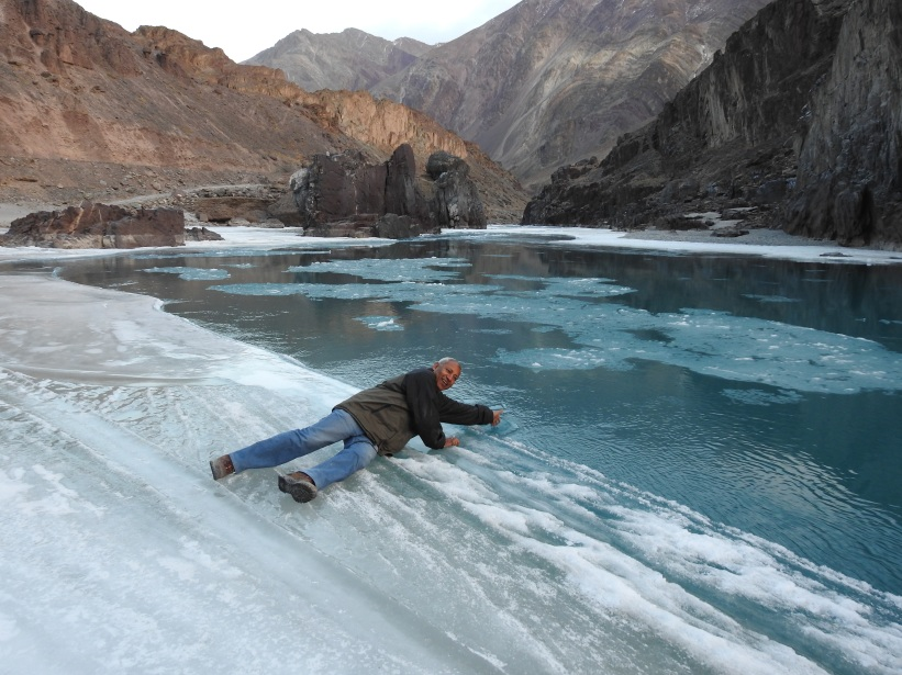 Touched icy cold Zanskar waters