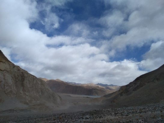 First glimpse of Pangong Lake