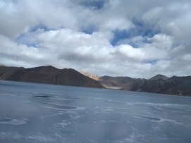 Mostly frozen Pangong Lake