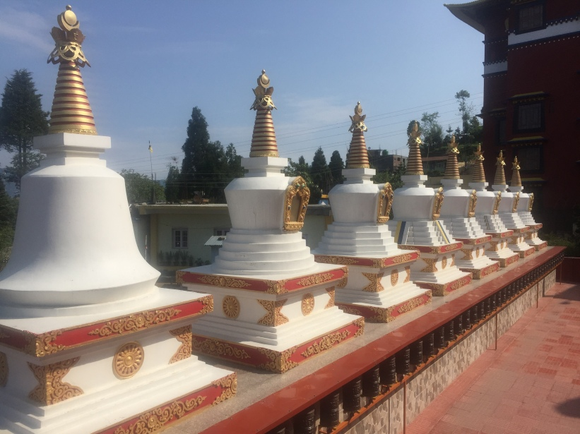 Chhortens at Bokar Ngedon Chokhor Ling Monastery, Mirik